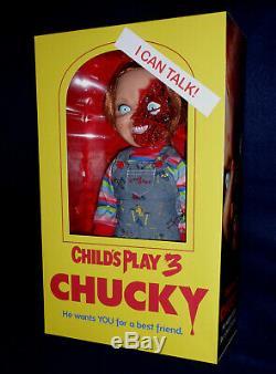 CHILD'S PLAY 3 TALKING CHUCKY 15 GOOD GUY PIZZA FACE MEGA DOLL Sound Mezco
