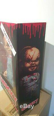 Child's Play 15 Inch Mega Scale Scarred Talking Chucky Doll Figure Mezco 78003