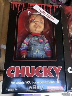 Child's Play 15 Scarred TALKING CHUCKY And Tiffany with Sound Doll New In Side