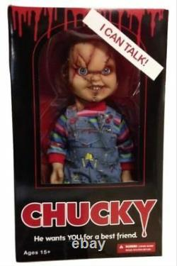 Child's Play 15 Scarred TALKING CHUCKY Mega figure with sound MEZCO DAMAGED BOX