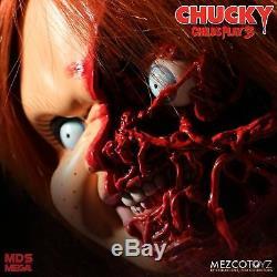 Child's Play 3 Chucky Pizza Face Talking Mega Scale Doll Sound 15 Mezco Toyz