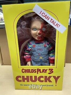 Child's Play 3 Pizza Face Chucky 15 Talking Doll Mezco Official