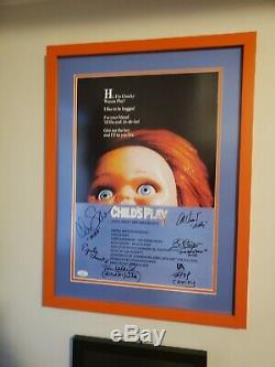 Child's Play Autographed Chucky Good Guy Doll 17X22.5 Framed Poster with JSA LOA