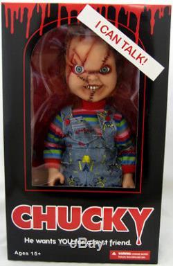Child's Play Bride Of Chucky 15 Inch Mega Scale Talking Chucky Scar Face Blac