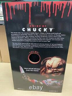Child's Play Bride of Chucky Scarred Chucky 15 Talking Doll Mezco Official