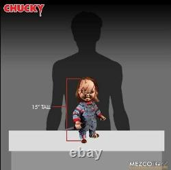 Child's Play Chucky Scarred 15 Mezco Talking Mega Scale Doll with Sound Prop