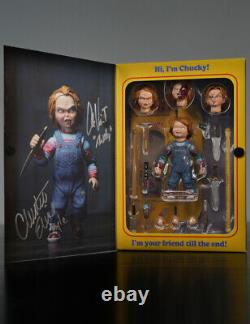 Child's Play NECA Chucky Figure Signed By Christine Elise Alex Vincent With COA
