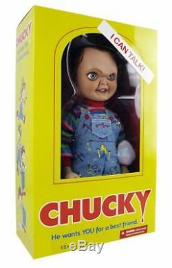 Childs Play 15-inch Good Guy Chucky Doll with Sound by Mezco Evil Face