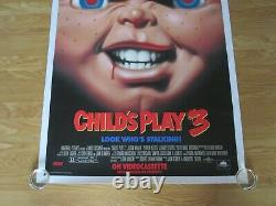 Childs Play 3 Original 1991 Video Film Poster Linen Backed Chucky Doll Horror