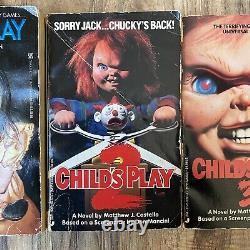 Childs Play Chucky Vintage 80s 90s Horror Scary Book Lot 3 Pc Movie Paperback