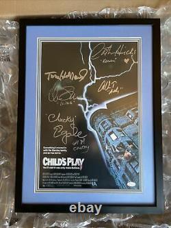 Childs Play Multi Cast Signed (6) Fujicolour Colour Photo 1988 Framed COA Chucky