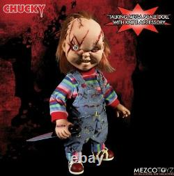 Chucky Doll Talking Child's Play Scarred 15 Mezco Mega Scale with Sound Prop
