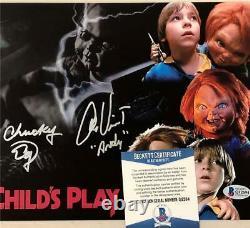 Ed Gale & Alex Vincent signed Chucky Child's Play 8x10 photo Beckett BAS COA