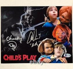 Ed Gale Chucky & Alex Vincent Andy signed Child's Play 8x10 photo BAS COA