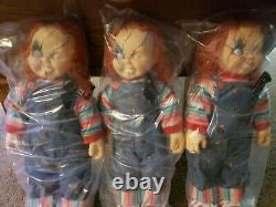 LOT OF 3 Childs Play 24 Chucky Doll with Knife Halloween NEW