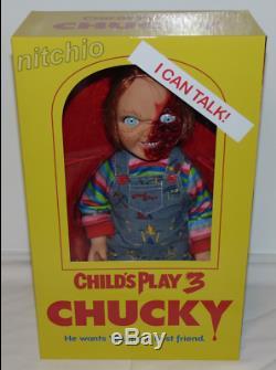 MEZCO TOYZ Childs Play 3 TALKING PIZZA FACE CHUCKY 15 Doll