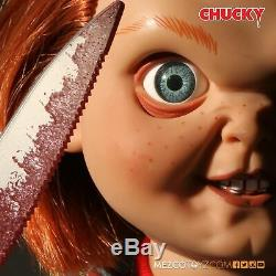 Mezco Child's Play Sneering Chucky 15 Inch Talking Doll New and In Stock