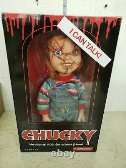 Mezco Mega Childs Play Chucky 15in Figure in package talking
