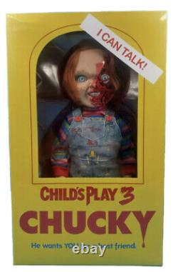 New! Figurines Child Play 3 Pizza Face Chucky Talking Doll Film Horror Tall