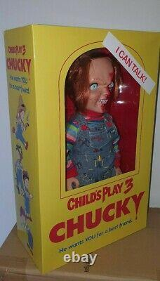 TALKING CHUCKY DOLL CHILD'S PLAY 3 PIZZA FACE 15 MEGA FIGURE withSOUND MEZCO 38cm