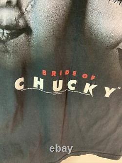 VTG 90s BRIDE OF CHUCKY Child's Play Movie Small Promo T-Shirt Horror Film